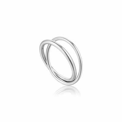 Ania Haie Modern Double Wrap Ring. Set In Silver. R002-01H-58