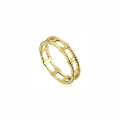 Ania Haie Modern Bar Ring. Yellow Gold Plated R002-02G-56