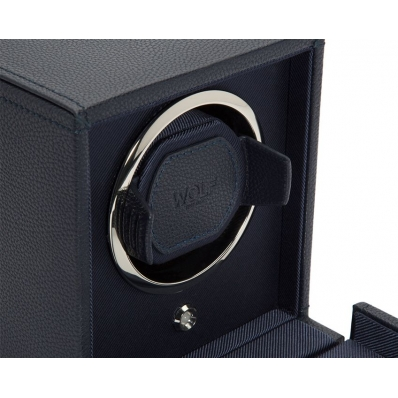 Wolf Est.1834 Cub Single Watch Winder with Cover Navy 461117