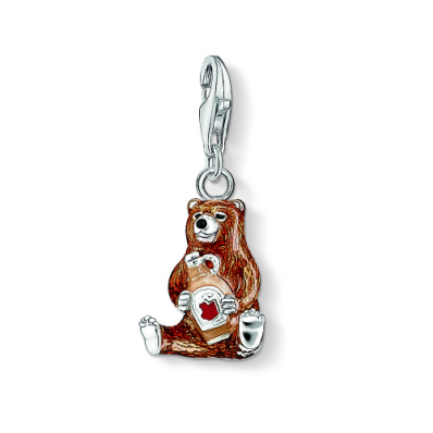 Thomas Sabo Silver & Brown Enamel Bear with Maple Syrup Charm 1104-007-2