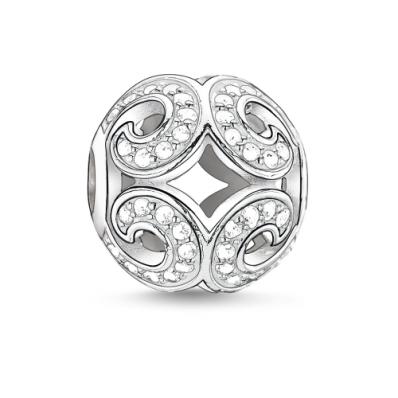 Thomas Sabo Karma Silver White Cubic Zirconia Glittering Wave Bead K0012-051-14