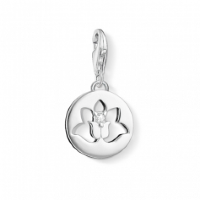 Thomas Sabo Silver Lotus Flower in a Circle Charm 1301-051-14