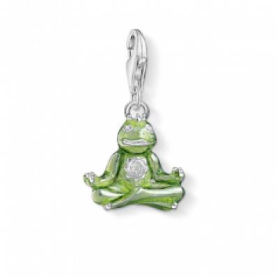 Thomas Sabo Silver & Green Yoga Frog Charm 1302-041-6