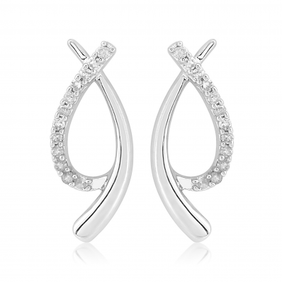 ​9ct White Gold & Diamond Swirl Earrings