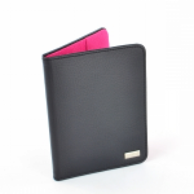 ​Dulwich Ladies Black Leather Passport Holder with Shocking Pink Lining 70359