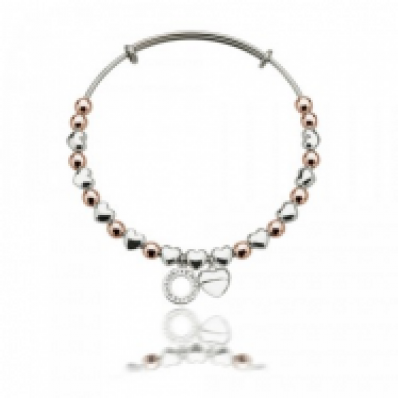Emozioni Rose Gold and Silver Plate Heart Bangle
