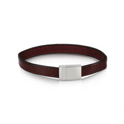 Duncan Walton Stainless Steel Burgundy Leather Scott Bracelet