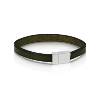 Duncan Walton Stainless Steel Olive Green Leather Scott Bracelet