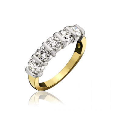 18ct Yellow & White Gold 1.00ct 5 Stone Diamond Half Eternity Ring