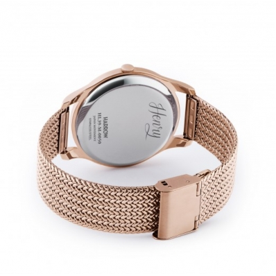 Henry London 39mm Rose Gold Plated Harrow Mesh Bracelet & Chocolate Brown Date Dial - HL39-M-0050
