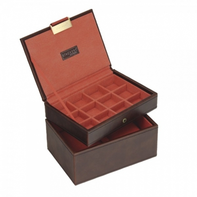 Stackers Set of 2 Mini Brown with Orange Lining Jewellery Box 73195