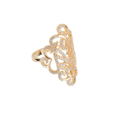 Vamp London Yellow Gold Plated Hidden Mask Ring 3016