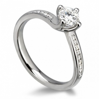 18ct White Gold 0.43ct Diamond 4 Claw Twist Shoulder Engagement Ring