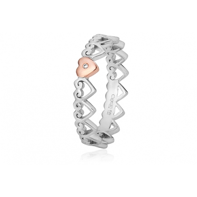 Clogau Silver & 9ct Rose Gold Heart Affinity Stacking Ring 3SEH06