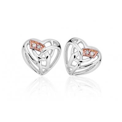 Clogau Silver & 9ct Rose Gold Diamond Eternal Love Stud Earrings 3SELE