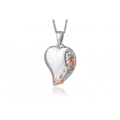 Clogau Silver & 9ct Rose Gold Tree of Life Heart Pendant Necklace 3STLP001