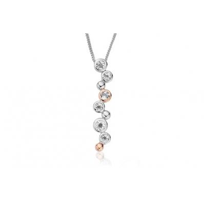 Clogau Silver & Rose Gold White Topaz Celebration Necklace 3SMP2