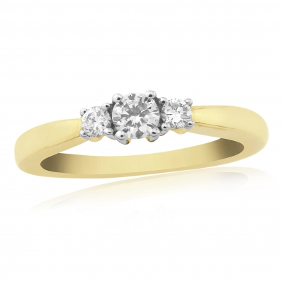 9ct Yellow Gold 3 Stone 4 Claw Diamond Ring DR881