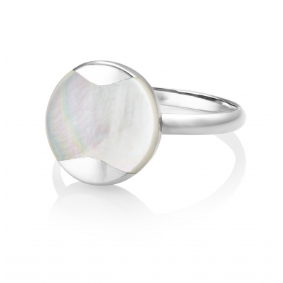 Jersey Pearl Dune Silver MOP Circle Ring DUR-SS-O