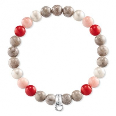 Thomas Sabo Stone, MOP, Coral and Red Bead Charm Bracelet X0212-943-7