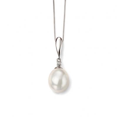 9ct White Gold Tear Fresh Water Pearl and Diamond Drop Pendant GP2018W