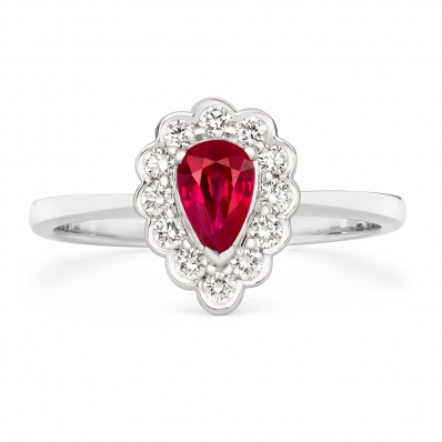 Ruby and Diamond Pear Shaped Cluster Ring 02-25-031